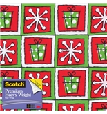 Scotch Gift Wrap, Snowflakes and Squares Pattern, 25-Square ...