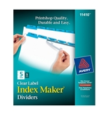 Avery Index Maker Clear Label Dividers, Easy Apply Label Strip, 5-Tab, Blue