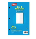 "Project Ruled Filler Paper, 5-1/2"" x 8-1/2"", Pack of 100 Sheets"
