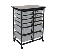 Luxor Mobile Bin Storage Unit - Double Row - Small Bins Mode...
