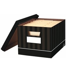 Bankers Box Decorative File Box / Record Boxes Chocolate Pin Stripe, 2 Pack