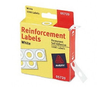 Avery : Self-Adhesive Polyvinyl Standard Diameter Hole Reinforcements, White, 1,000/Pack -:- Sold as 2 Packs of - 1000 - / - Total of 2000 Each