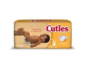 Cuties Premium Baby Diapers, Size 1, Case/200 (4 bags of 50)
