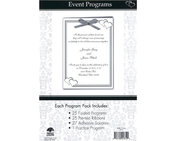 Celebration Silver Hearts Event Program Set, 5 x 7-Inches, 25 Folded Programs per Set (1612)