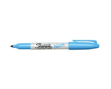 Sharpie 1878459 Neon Fine Point Permanent Marker, Neon Blue, 12-Pack
