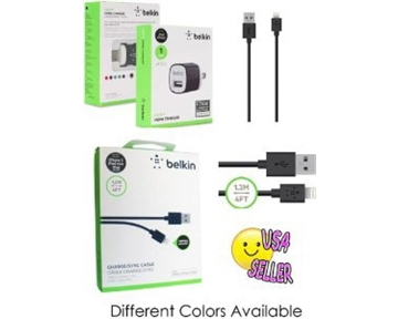 Belkin Lightning to USB ChargeSync Cable for iPhone 5 / 5S / 5c, iPad 4th Gen, iPad mini, and iPod touch 7th Gen, 4 Feet CABLE + 1AMP Home charger (colors may vary)