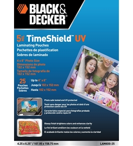 BLACK + DECKER TimeShield UV Thermal Laminating Pouches, 4 x 6 Photo, 5 mil - 25 Pack (LAM4X6-25)