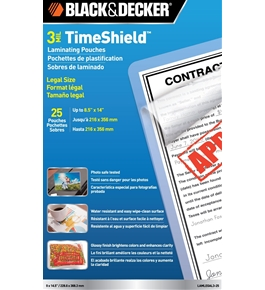 BLACK + DECKER TimeShield Thermal Laminating Pouches, Legal, 3 mil - 25 Pack (LAMLEGAL3-25)