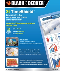 BLACK + DECKER TimeShield Thermal Laminating Pouches, Letter, 3 mil - 25 Pack (LAMLET3-25)