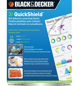 BLACK + DECKER QuickShield Self-Adhesive Letter Size Laminating Sheets, 3-mil, 10 Pack (LET-10SHSS)