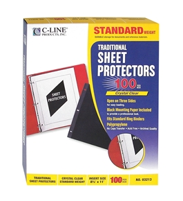 C-Line Traditional Standard Weight Poly Sheet Protectors, Clear, 8.5 x 11