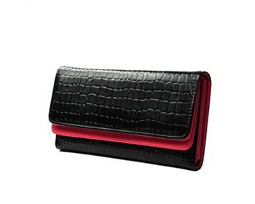 KLOUD « Black synthetic leather stone pattern double layer women wallet