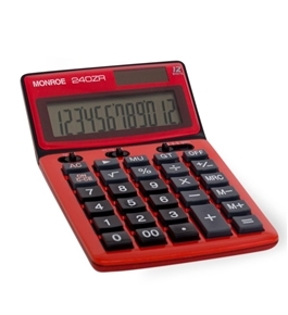 MONROE 240Z 12-DIGIT HANDHELD CALCULATOR -Red