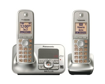 Panasonic KX TG4132N Dect 6.0 Cordless Phone with Answering System, Champagne Gold, 2 Handsets