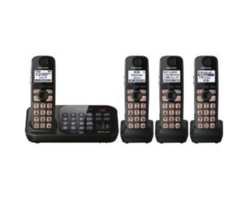 Panasonic KX-TG4744B DECT 6.0 Cordless Phone with Answering System, Black, 4 Handsets