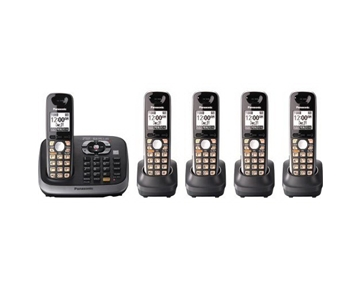 Panasonic KX-TG6545B DECT 6.0 PLUS Expandable Digital Cordless Phone with Answering System, Black, 5 Handsets
