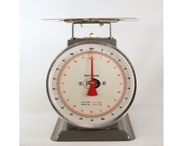 "Spring Scale Painted Body  200-lb Spring Scale, 9-1/2"" Dial, 12"" Square Platter"