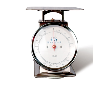"Spring Scale SS Body-Dashpot Technology 2-lb. Spring Scale, 6-1/2"" Dial, 8"" SS Platter"