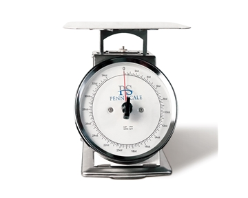 "Spring Scale SS Body, Rotating Dial, Dashpot 5-lb Spring Scale, Stainless Steel, 8"" SS Platter"