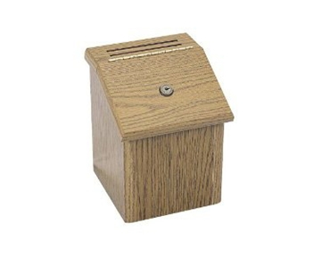 Safco Wood Suggestion Box, Latch Lid Key Lock, 7 3/4 x 7 1/2 x 9 3/4, Oak (SAF4230MO)
