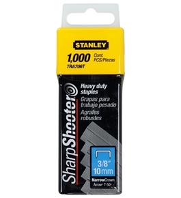"Stanley Hand Tools TRA706T 3/8"""" Sharp Shooter® Narrow Crown H-D Staples 1,000 Count"