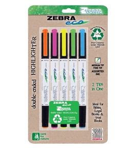 Zebra - Eco Zebrite Double-Ended Highlighters, Chisel/Fine Point, BE,GN,PK,OE,YW, 5/PK